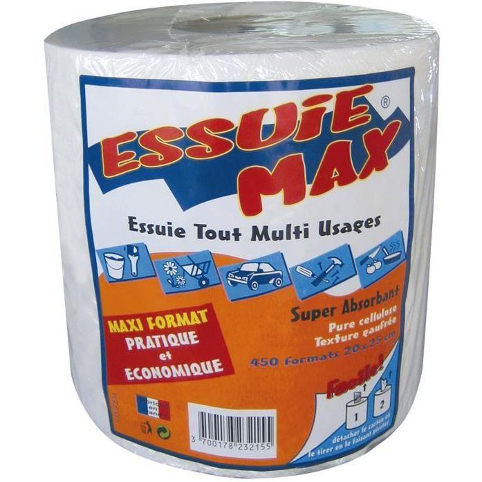 Papier absorbant Essuie Max gaufré - 450 feuilles 20x25 cm