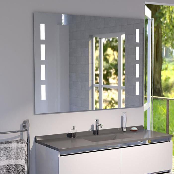 Miroir anti-buée PRESTIGE 100x80 cm - éclairage intégré à LED et interrupteur sensitif