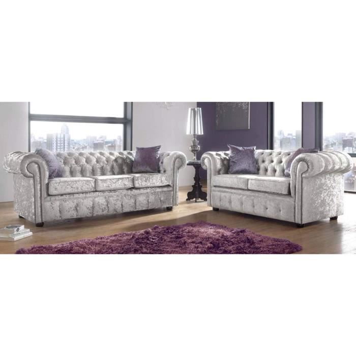 Canapé 3 places Tissu Chesterfield