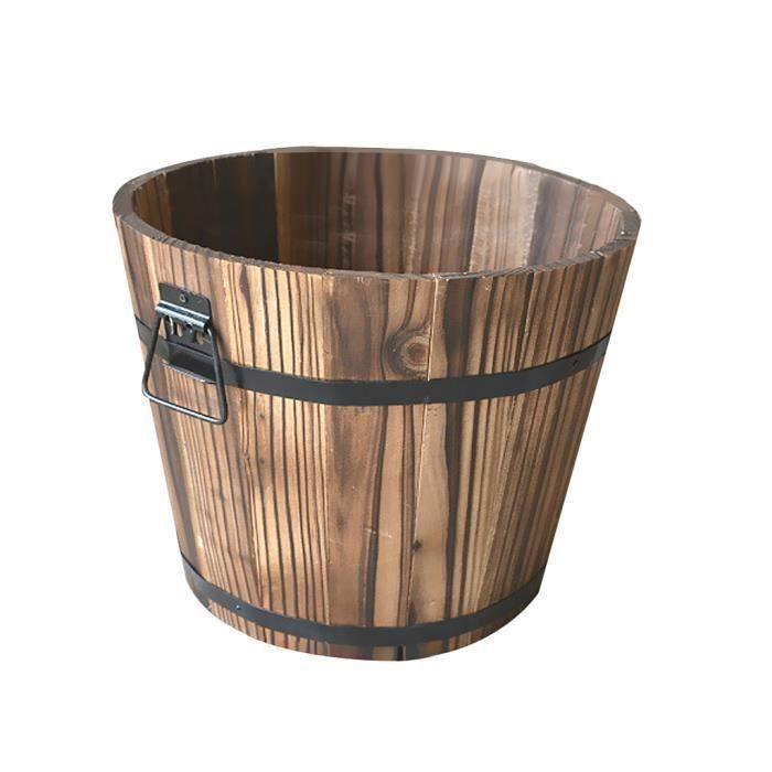 PLANTOIR Pot De Seau En Bois Flower Planter Barrel Patio Garden Outdoor Home Decor # 1 S la21356