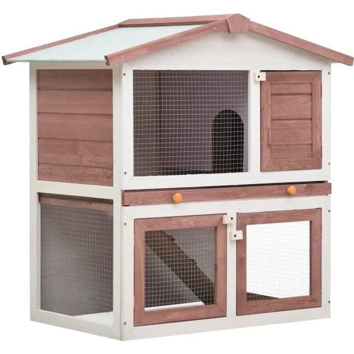 Clapier lapin extérieur Cage Clapier lapin Enclos 3 portes Marron Bois
