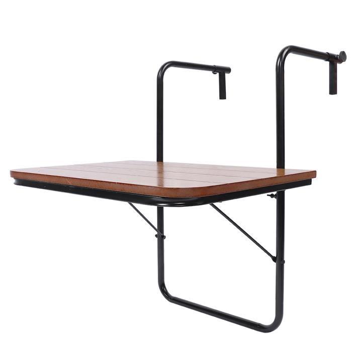 Fdit Mobilier d'extérieur Balcon Table suspendue Garde-corps de haute qualité Table de jardin pliante en fer
