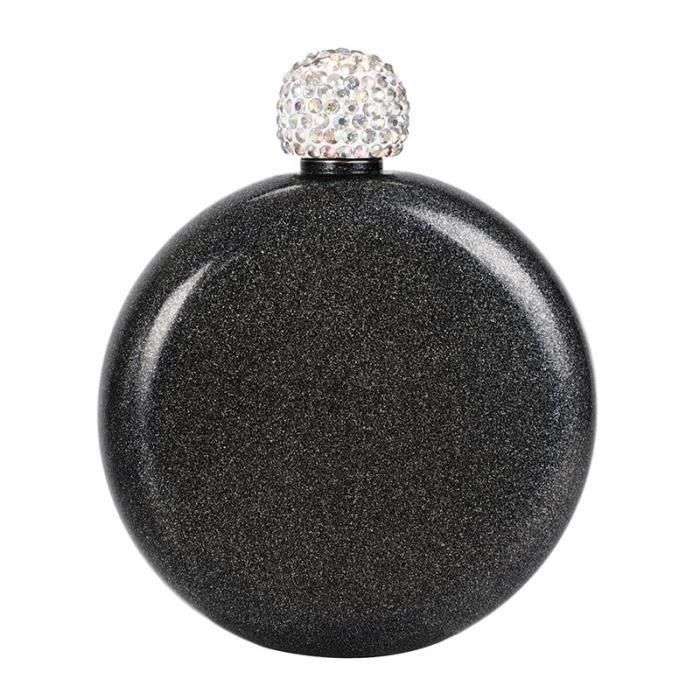 Flasques,Rond Portable hanche fiole 304 en acier inoxydable hanche fiole créatif cristal couvercle femmes bouteille de - Type black
