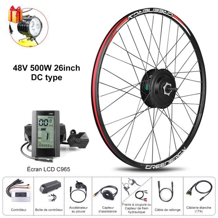 BAFANG 8FUN Kit de Moteur roue avant 48V 500W 26- avec Écran LCD C965 pour Vélo à assistance électrique
