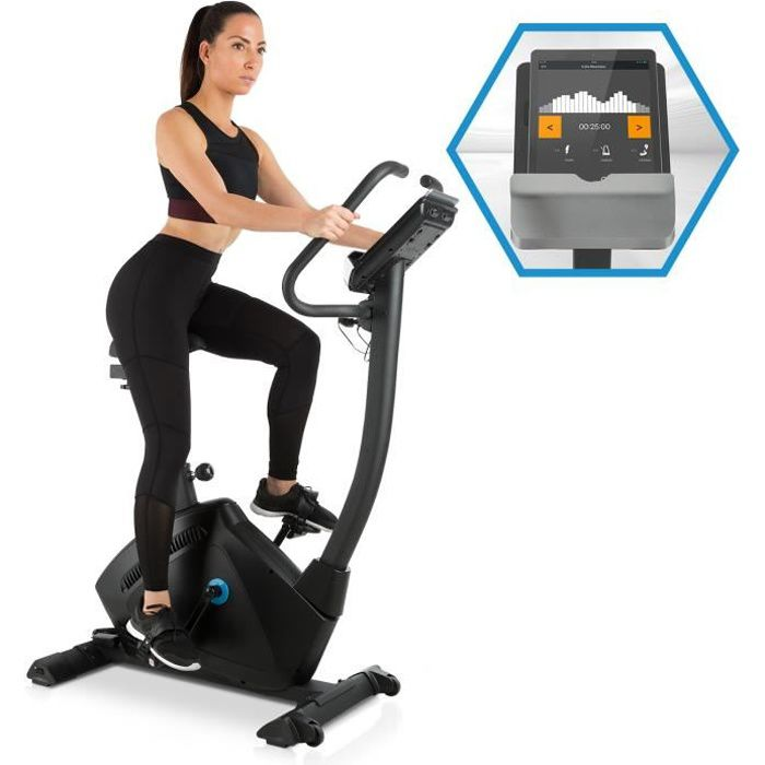 CAPITAL SPORTS Evo Track Cardiobike Vélo d'appartement avec Bluetooth et support de tablette - volant d'inertie 15kg - noir