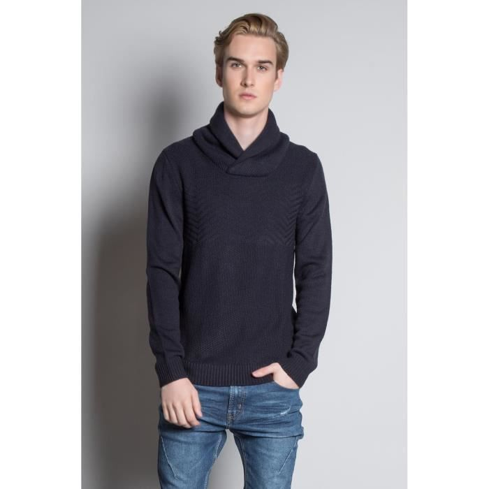 DEELUXE Pull à col châle en maille ANDREW Navy