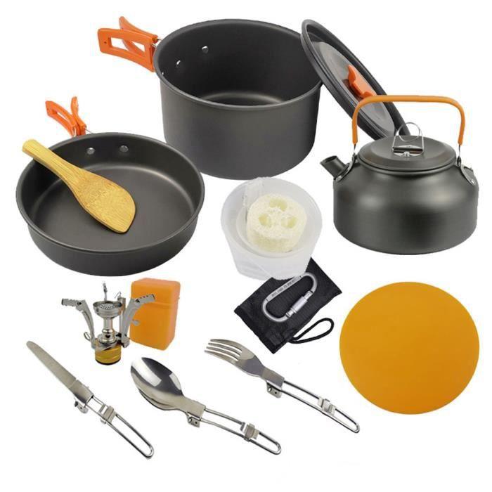Ustensiles de cuisine Randonnée Pot Batterie de cuisine Kit de pique-nique pour antiadhésives léger BackpackingOrange