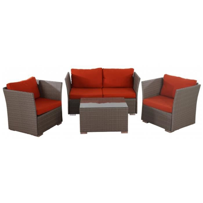 Canapé de jardin Siena de 4 piéces (3 fauteuils avec coussins en polyrotin et une table), coloris Bordeaux