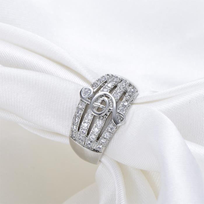 1Pc Note Anneau De Musique Doigt Bague à la mode Creative En Diamant Argent (Taille 6) PIECE DETACHEE TELEPHONE