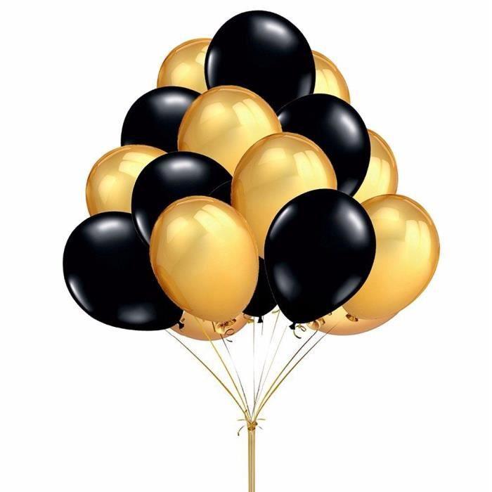 Ballon Baudruche Ballons Anniversaire Ballons Mariage Ballons Fête Ballons en Latex Noir d'or Ballons Gonflable pou#2451