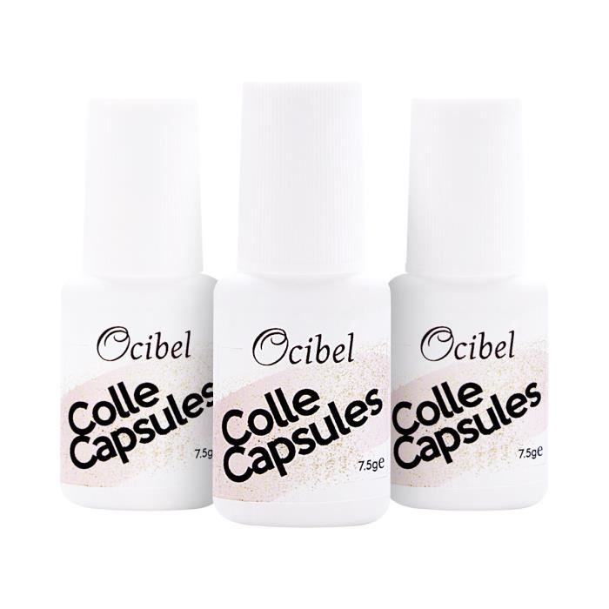 3 Colles capsules pour ongles avec pinceau - 7,5 ml