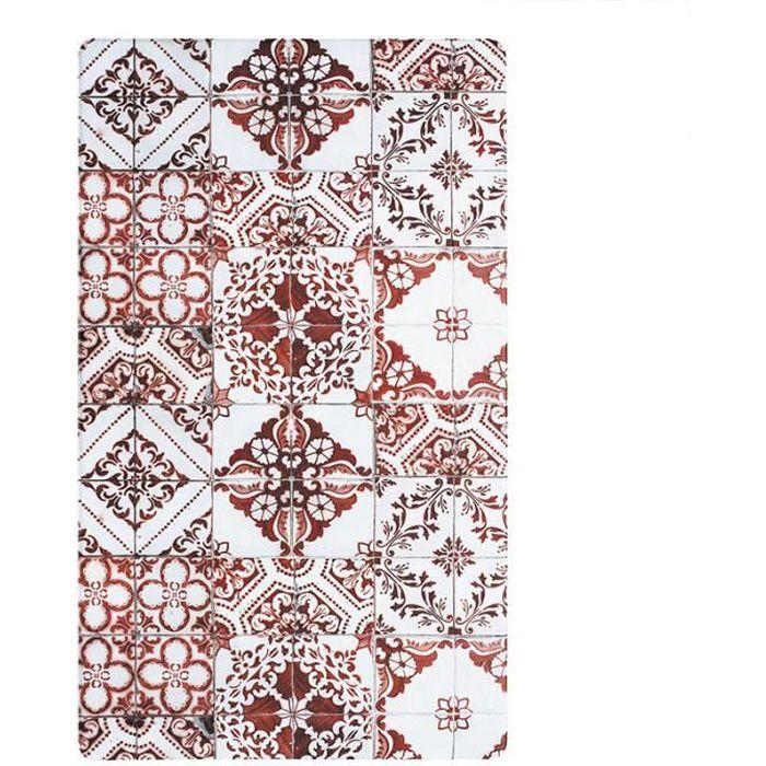 AZULEJOS - Tapis de cuisine imprimé carreaux de ciment rouge 45x75