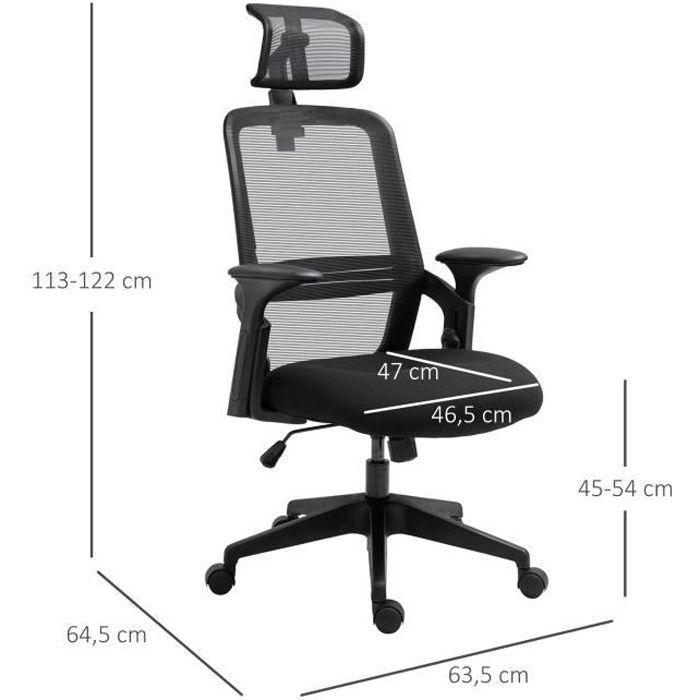 Fauteuil de bureau manager grand confort dossier ergonomique assise et appui-tête réglable pivotant tissu maille noir