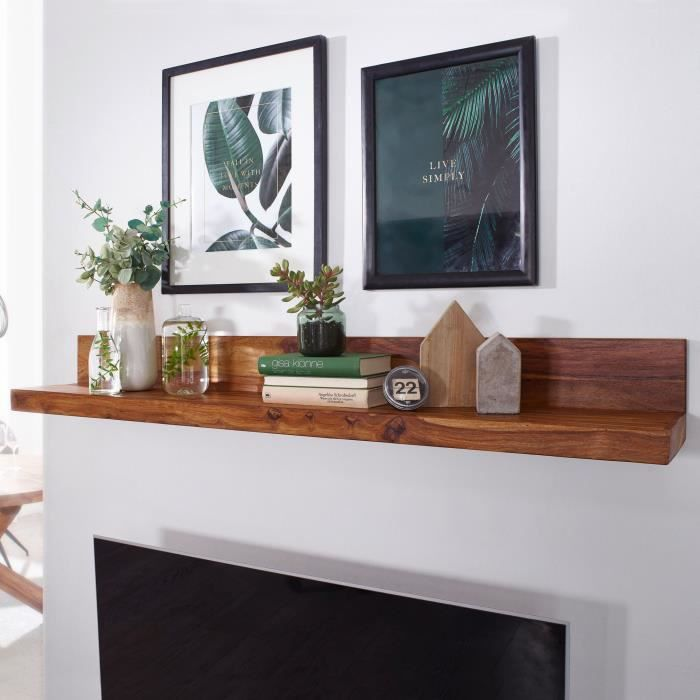WOHNLING bois massif étagère murale 160 cm étagère Sheesham Wandboard meubles en bois massif