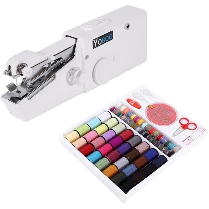 Mini Machine À Coudre Portable Manuel + Boîte Fils à Coudre 64 Bobines pour couture tissu fin (Tissu d'épaisseur max 1.8mm)