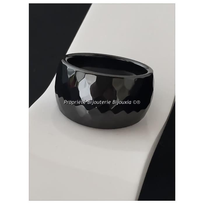 BAGUE Facette en Céramique noire NEUVE TAILLE 54 DISPONIBLE