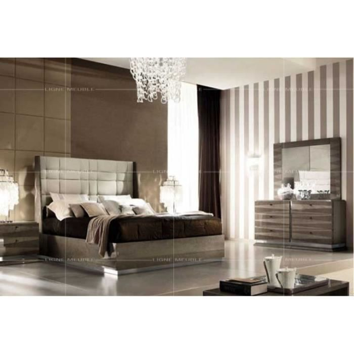 monaco laque taupe ensemble chambre a coucher lit 2 chevets commode miroir achat. Black Bedroom Furniture Sets. Home Design Ideas