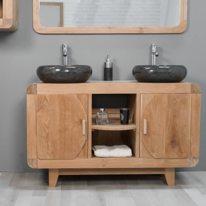 meuble de salle de bain en teck r tro 120cm achat vente salle de bain complete meuble de. Black Bedroom Furniture Sets. Home Design Ideas