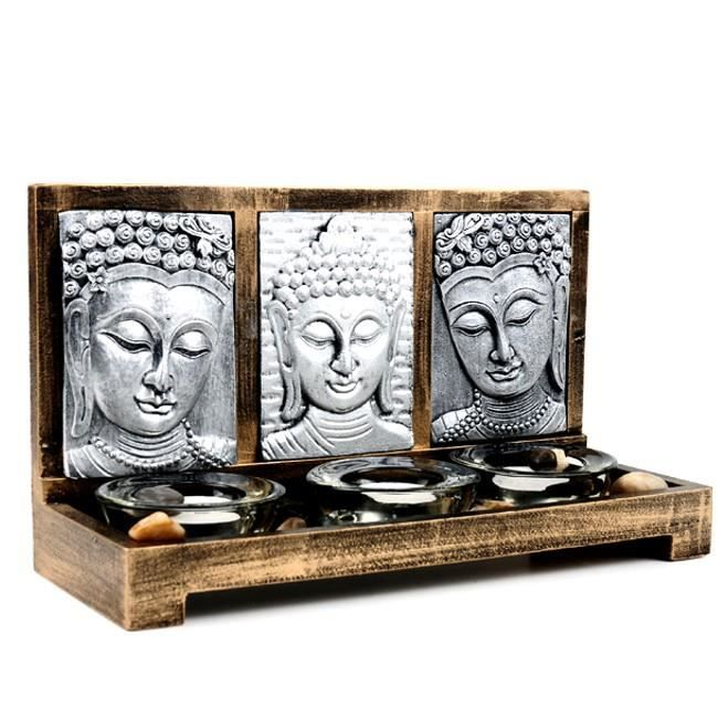 jardin zen 3 bouddha et bougies ambiance d coration zen achat vente bougie d corative. Black Bedroom Furniture Sets. Home Design Ideas