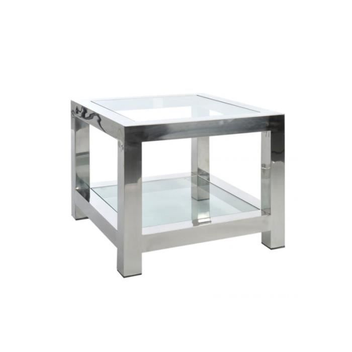 table d 39 appoint en acier inox et verre argent 6 achat vente table basse table d 39 appoint en. Black Bedroom Furniture Sets. Home Design Ideas