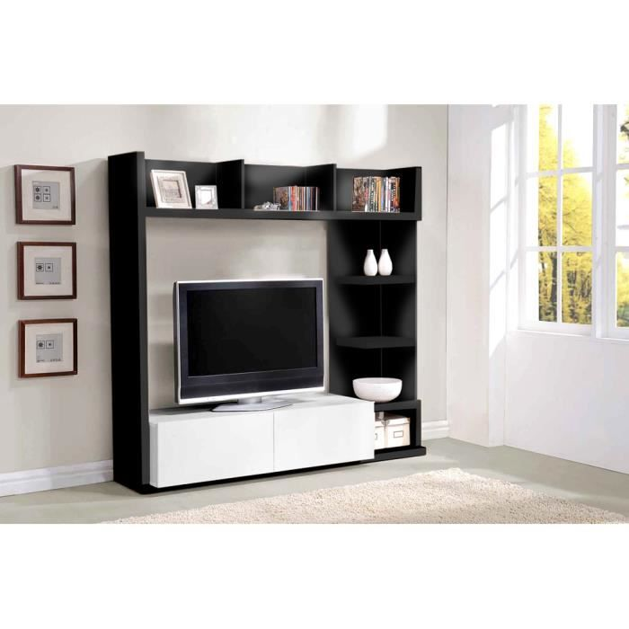 living tv elsa blanc noir achat vente meuble tv living. Black Bedroom Furniture Sets. Home Design Ideas
