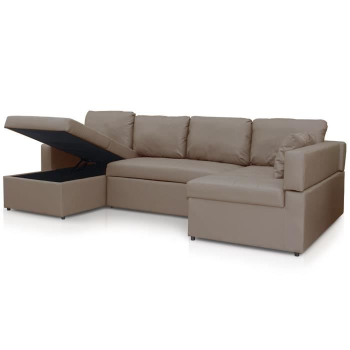 Canap d 39 angle convertible emilio taupe achat vente - Canape d angle taupe ...
