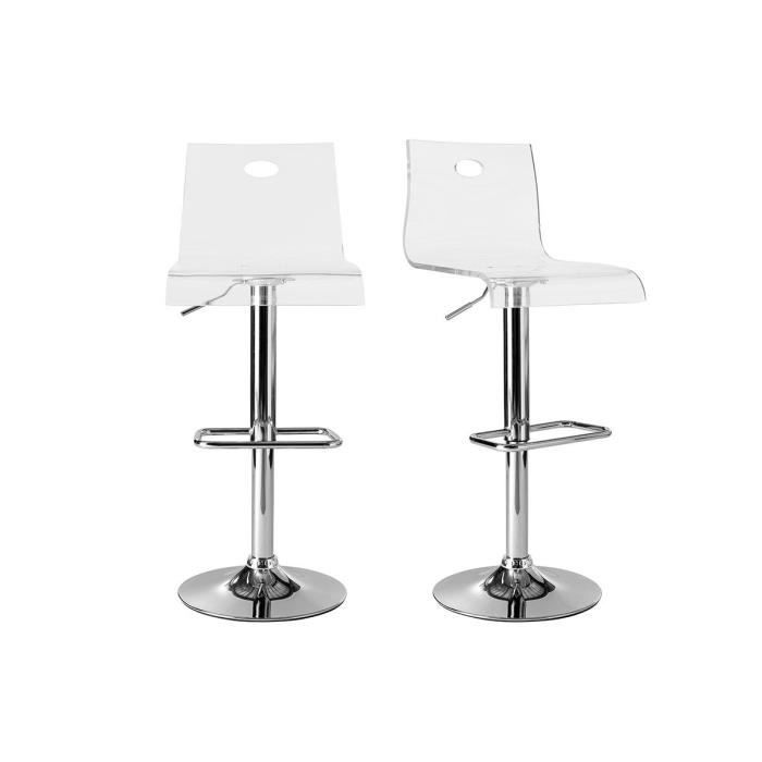 tabourets de bar design saturne transparent x 2 achat vente tabouret de bar plexiglas m tal. Black Bedroom Furniture Sets. Home Design Ideas