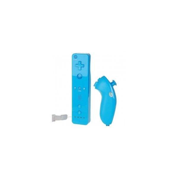 MANETTE JEUX VIDÉO Manette Wiimote - Nunchunk - Bleu Compatible Wii