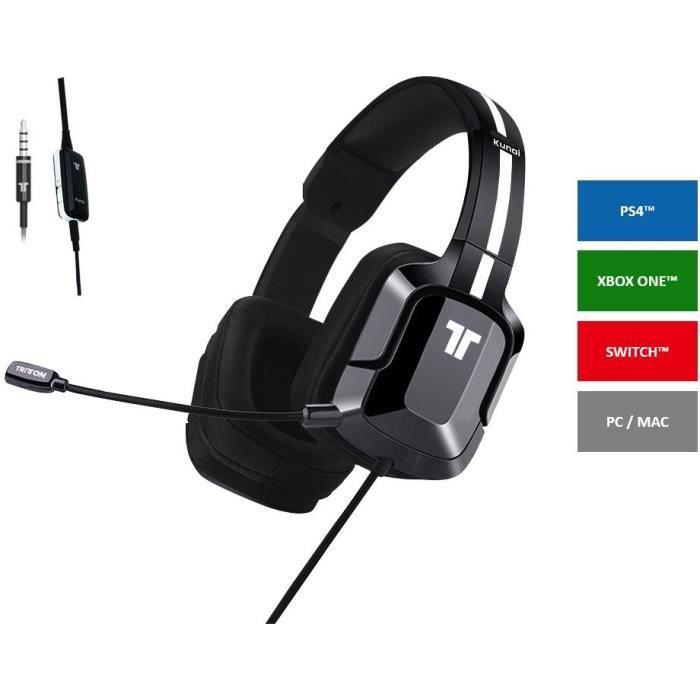 CASQUE AVEC MICROPHONE TRITTON KUNAI+ - Casque gaming noir - PS4, Xbox On