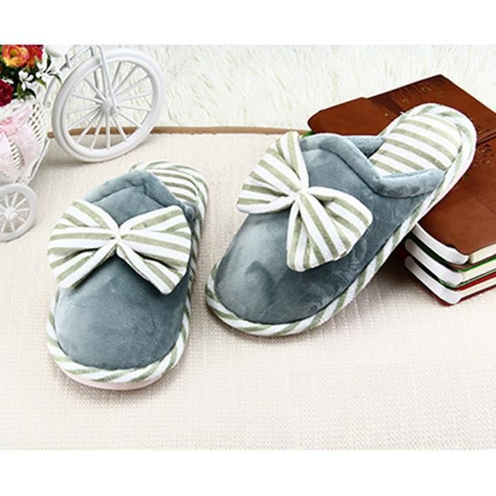 Anti-slip Indoor Shoes Cotton House Slippers With Cute Bow FPWN2 Taille-40