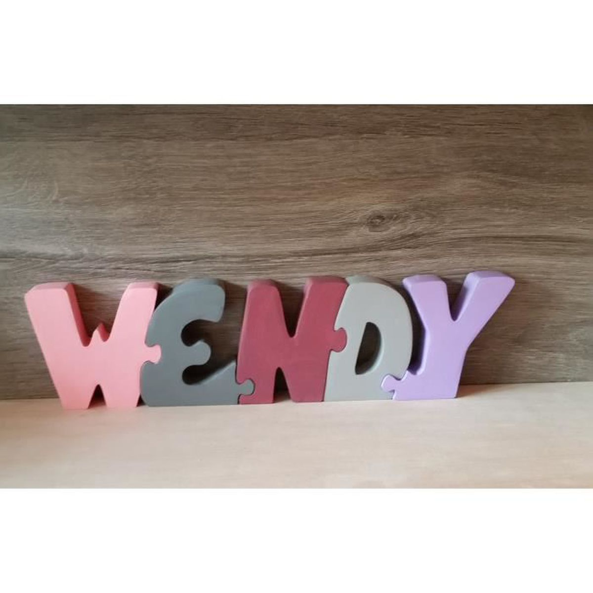 lettres pr nom en bois wendy achat vente plaque de porte cdiscount. Black Bedroom Furniture Sets. Home Design Ideas