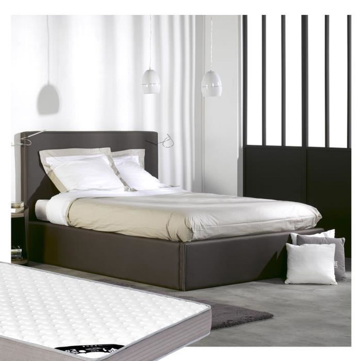lit coffre 140x200 matelas similicuir achat vente lit complet lit coffre 140x200. Black Bedroom Furniture Sets. Home Design Ideas