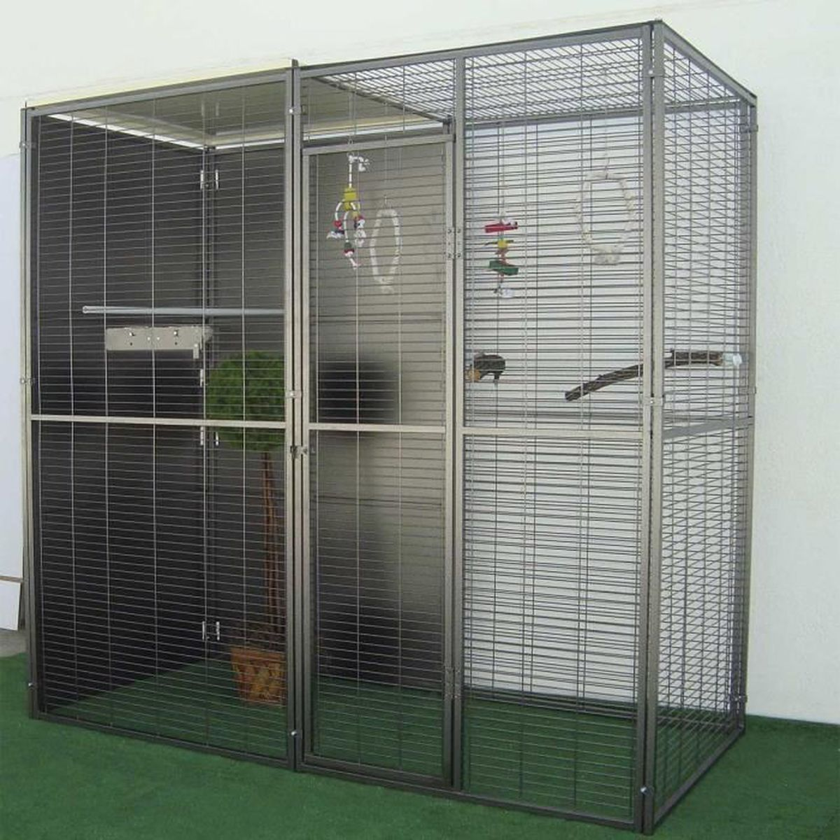 voli re de jardin 2m toit mixte pour perroquet gris achat vente voli re cage oiseau. Black Bedroom Furniture Sets. Home Design Ideas