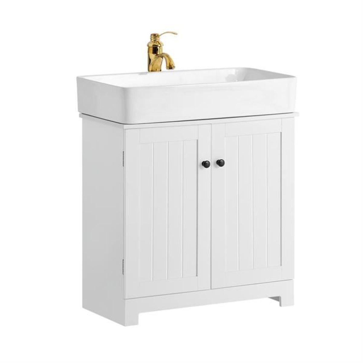 Meuble Sous Evier Ancien sobuy® bzr18-w meuble sous-lavabo à 2 étages et 2 portes meuble de  rangement de salle de bain