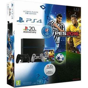 CONSOLE PS4 Pack PS4 1 To Noire + PES Euro 2016 Jeu PS4 + 2ème