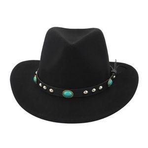 CHAPEAU - BOB chapeau NoirHiver hommes et chapeau de cowboy tiss