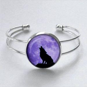 BRACELET - GOURMETTE Bracelet loup et lune, loup et lune Bracelet à bre