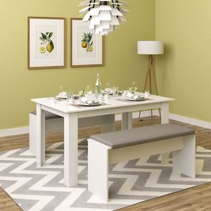 table manger complte table avec chaises blanc 140 x 90 x 76 cm