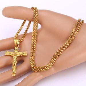 SAUTOIR ET COLLIER Pendentif Crucifix Acier Plaqué Or Jaune Chaîne Of