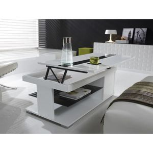 TABLE BASSE Table basse relevable blanc laqué design ELSYE L 1