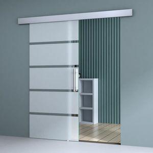 Sogood porte coulissante en verre pour lint/érieur 77,5cm x 205cm verre de s/écurit/é opaque poign/ée ronde porte glissante Almafi TS12-775
