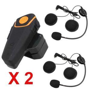 INTERCOM MOTO 2 x BT-S2 1KM Moto Interphone Casque FM Bluetooth