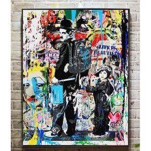 TABLEAU - TOILE Tableau Déco - Toile HD Imprimer - Banksy Urban ar