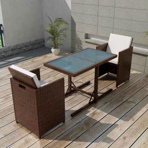SALON DE JARDIN  Jeu de mobilier de jardin 7 pcs Marron Résine tres