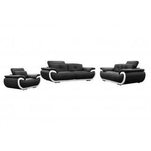 CANAPÉ - SOFA - DIVAN Canapés 3+2+1 places cuir SMILEY - Bicolore Noi…