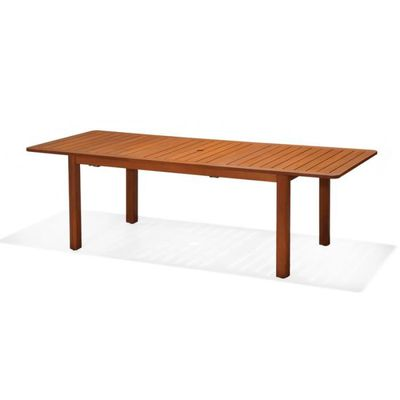 CHILLVERT - Table rectangulaire extensible jardin rectangulaire Hawksworth  FSC en bois d\'eucalyptus et aluminium 180-240 x 100 x 75