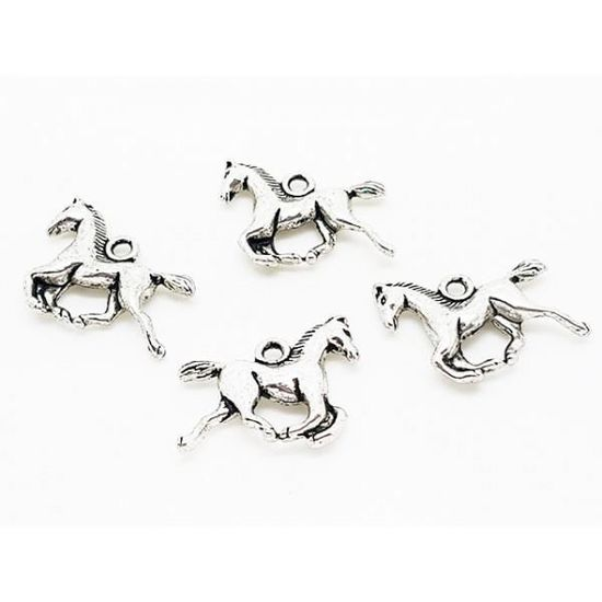 Neuf 20 breloques cheval argent mat 15x19mm