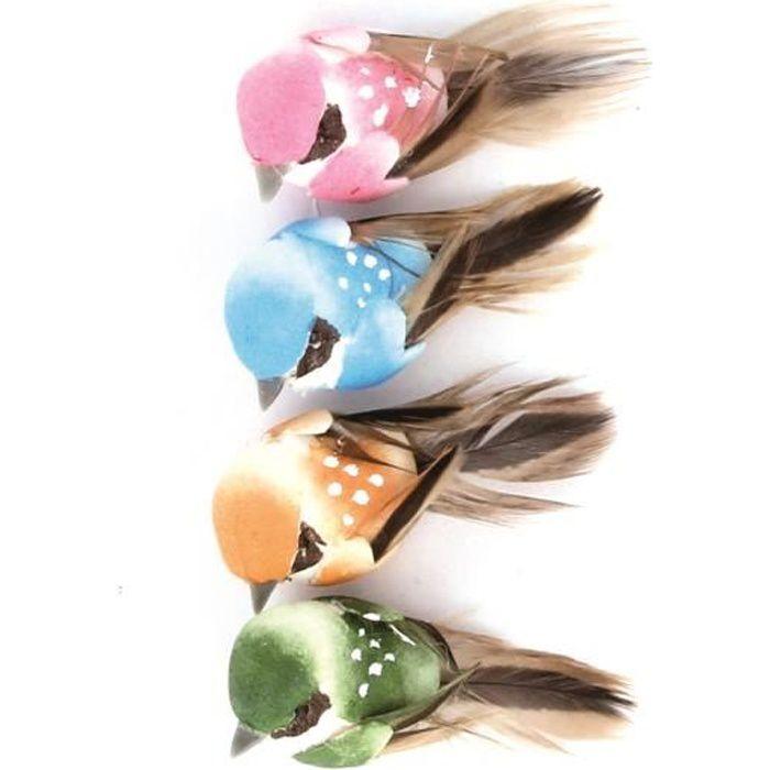 Oiseaux décoratifs 4cm 4 pièces - Artémio Multicolore - Assort.