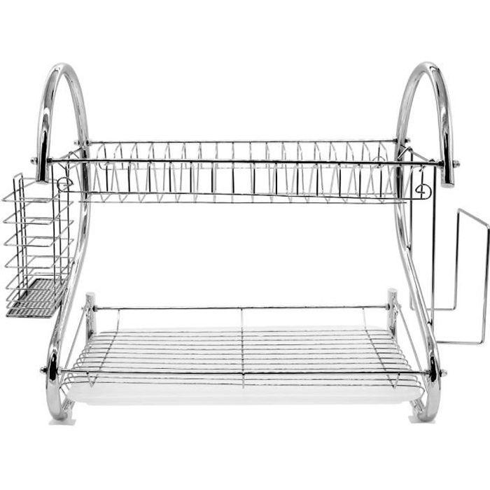Égouttoir à Vaisselle inox Design moderne avec Porte-ustensile Amovibles pour Organiser la Vaisselle, Le comptoir de Cuisine