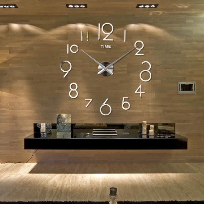 Horloge murale Salon DIY 3D décoration intérieure miroir grande Art Design argent